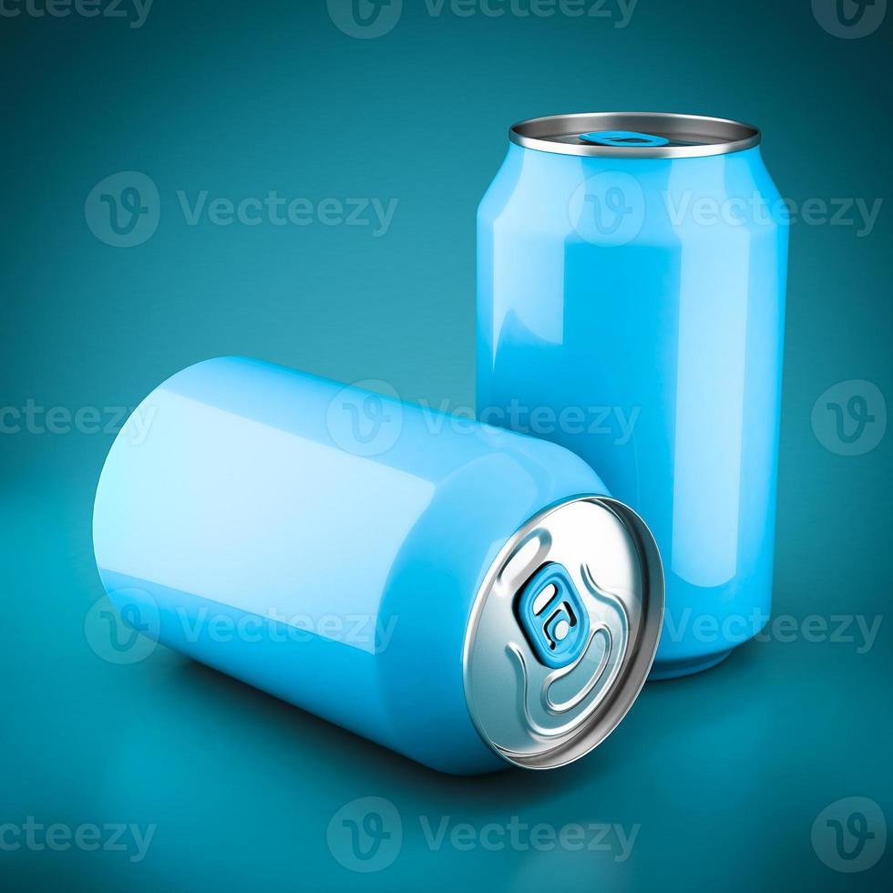 latas de alumínio azul foto