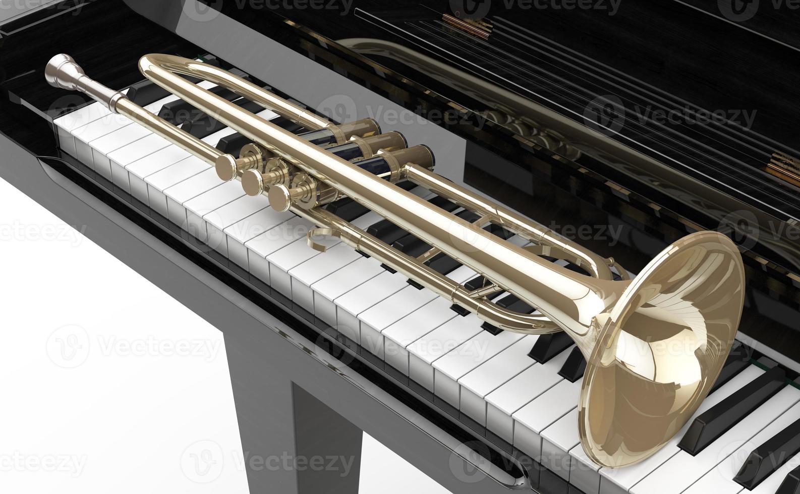 piano de cola e trompeta foto