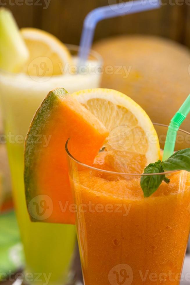 suco de melão cantalupo foto