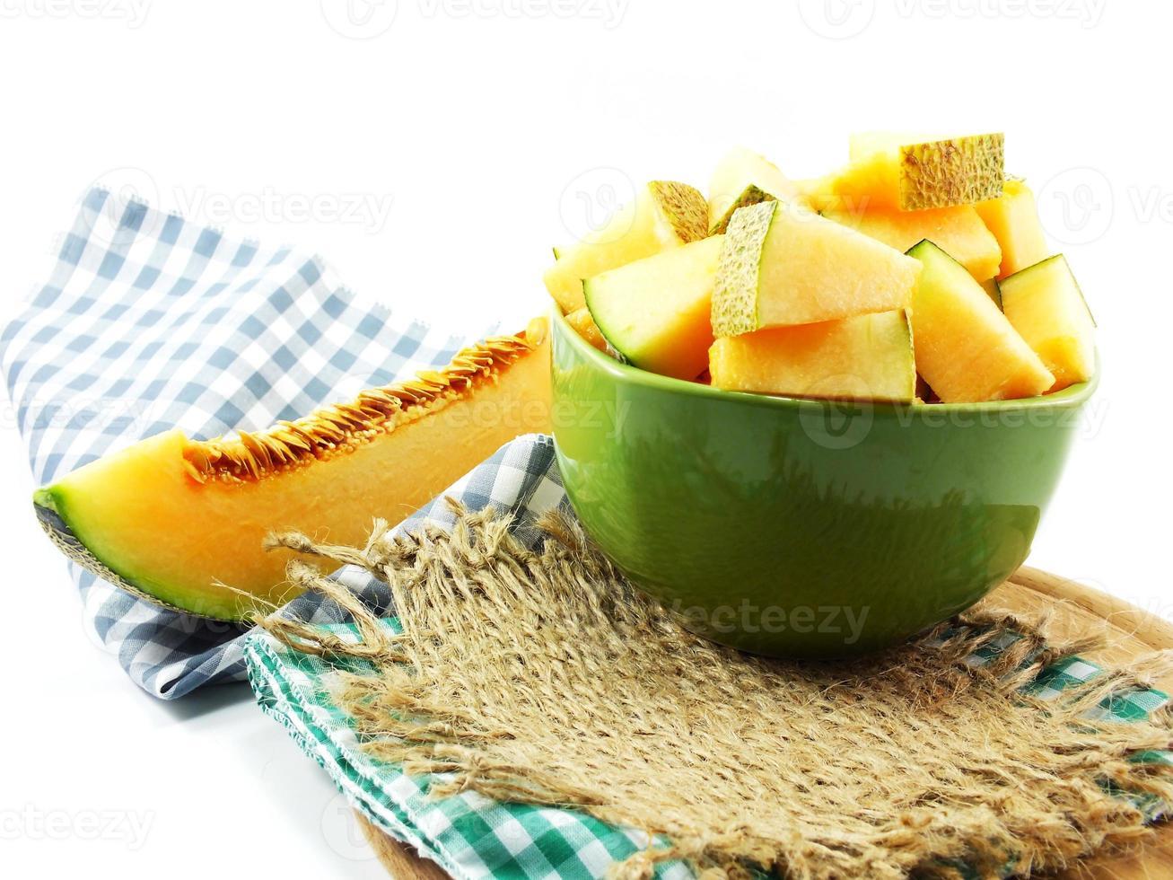 close-up de fatias de melão cantalupo foto