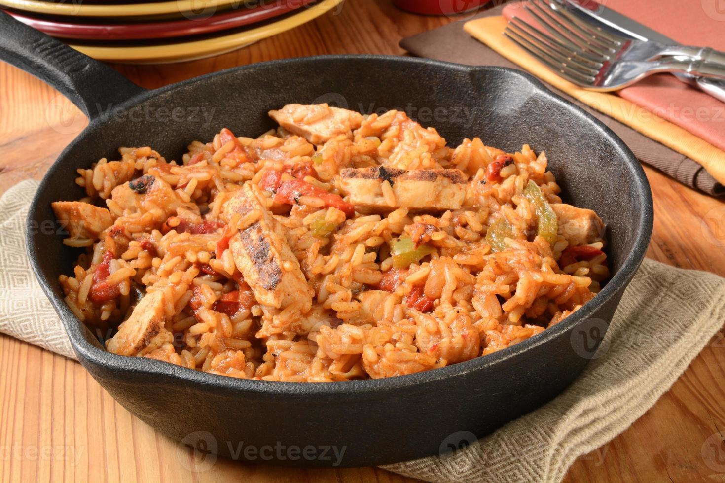 fajita de frango com arroz foto