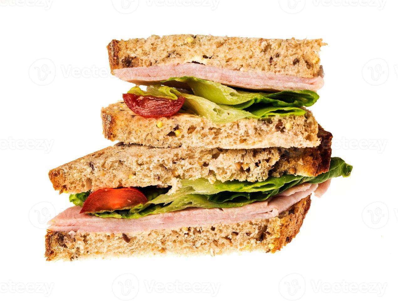 sanduíche de presunto de pão multigrain inglês foto