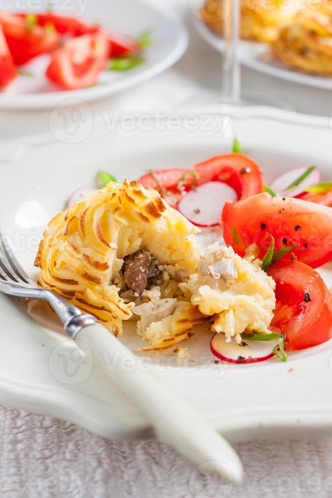batatas duquesa com cogumelos foto