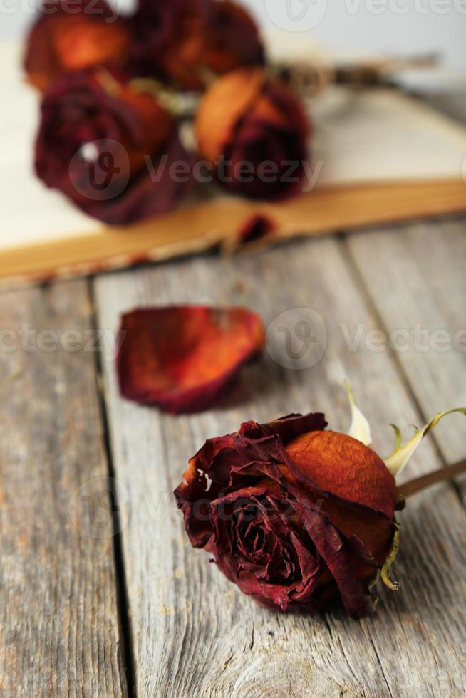 rosas secas em fundo cinza de madeira foto