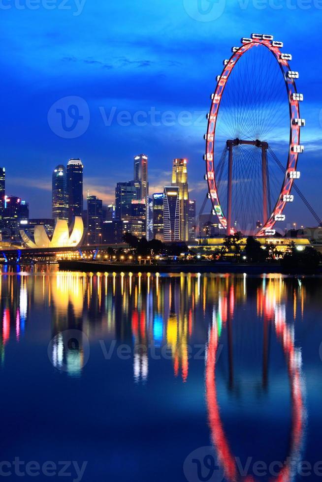 Cingapura, centro da cidade à noite foto