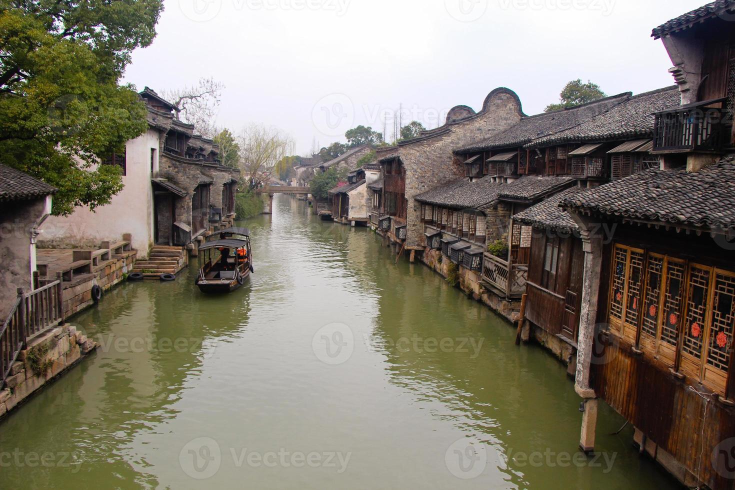 o cenário wuzhen, cidade antiga chinesa foto