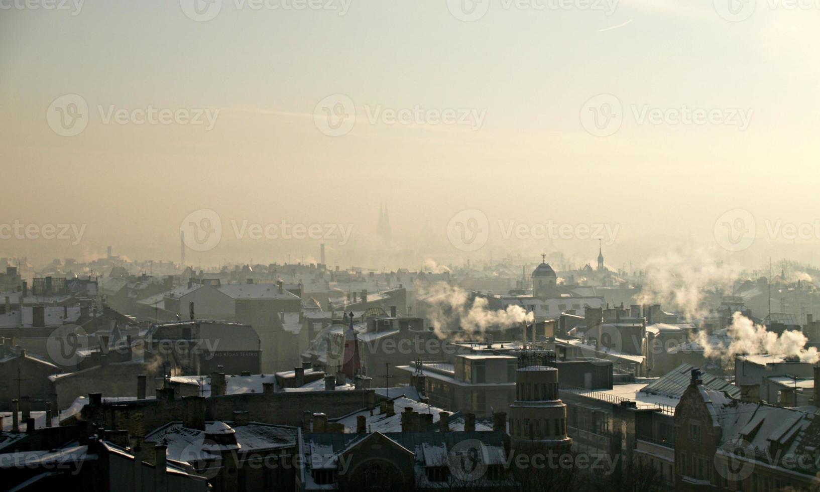telhados no inverno foto