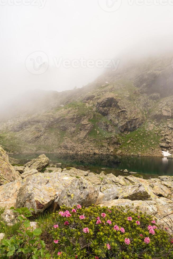 Lago alpino enevoado foto