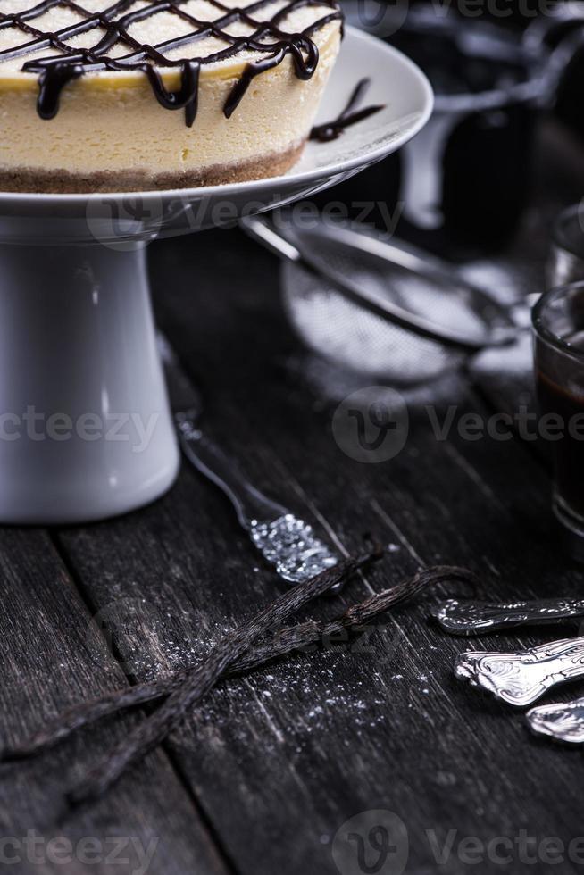 cheesecake de baunilha caseiro de nova york foto