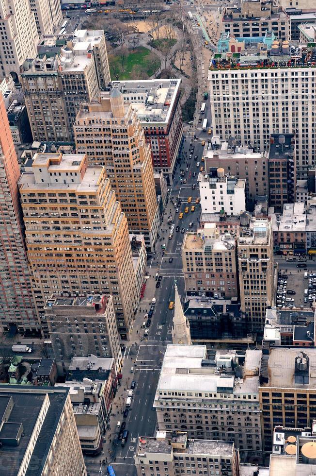 cidade de nova york manhattan rua vista aérea foto