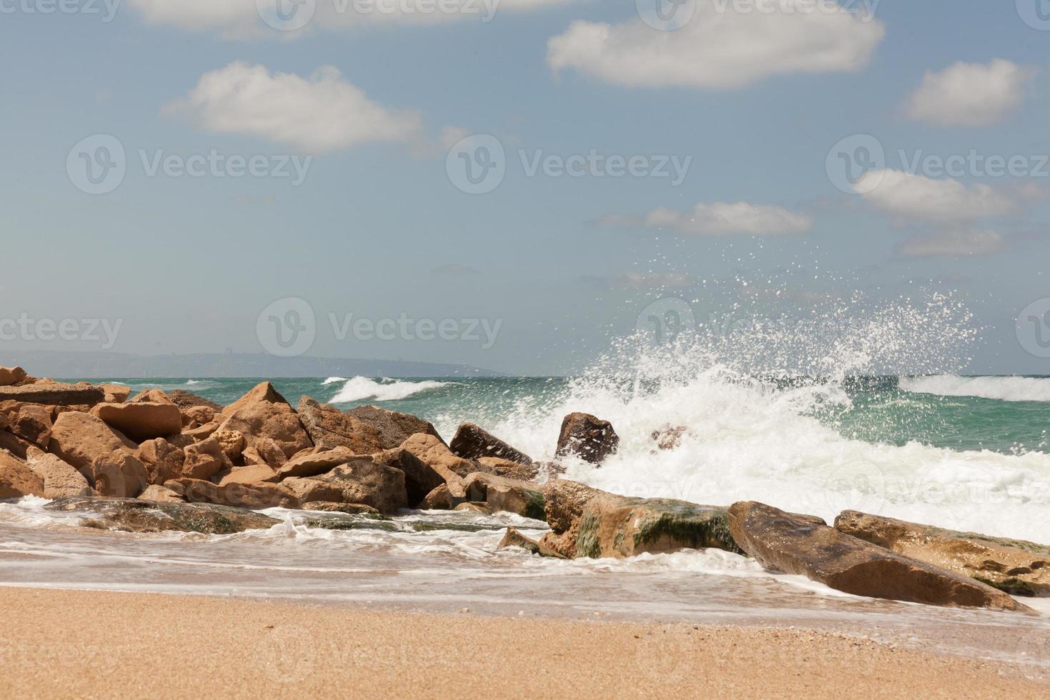 praia de apollonia perto de tel aviv foto