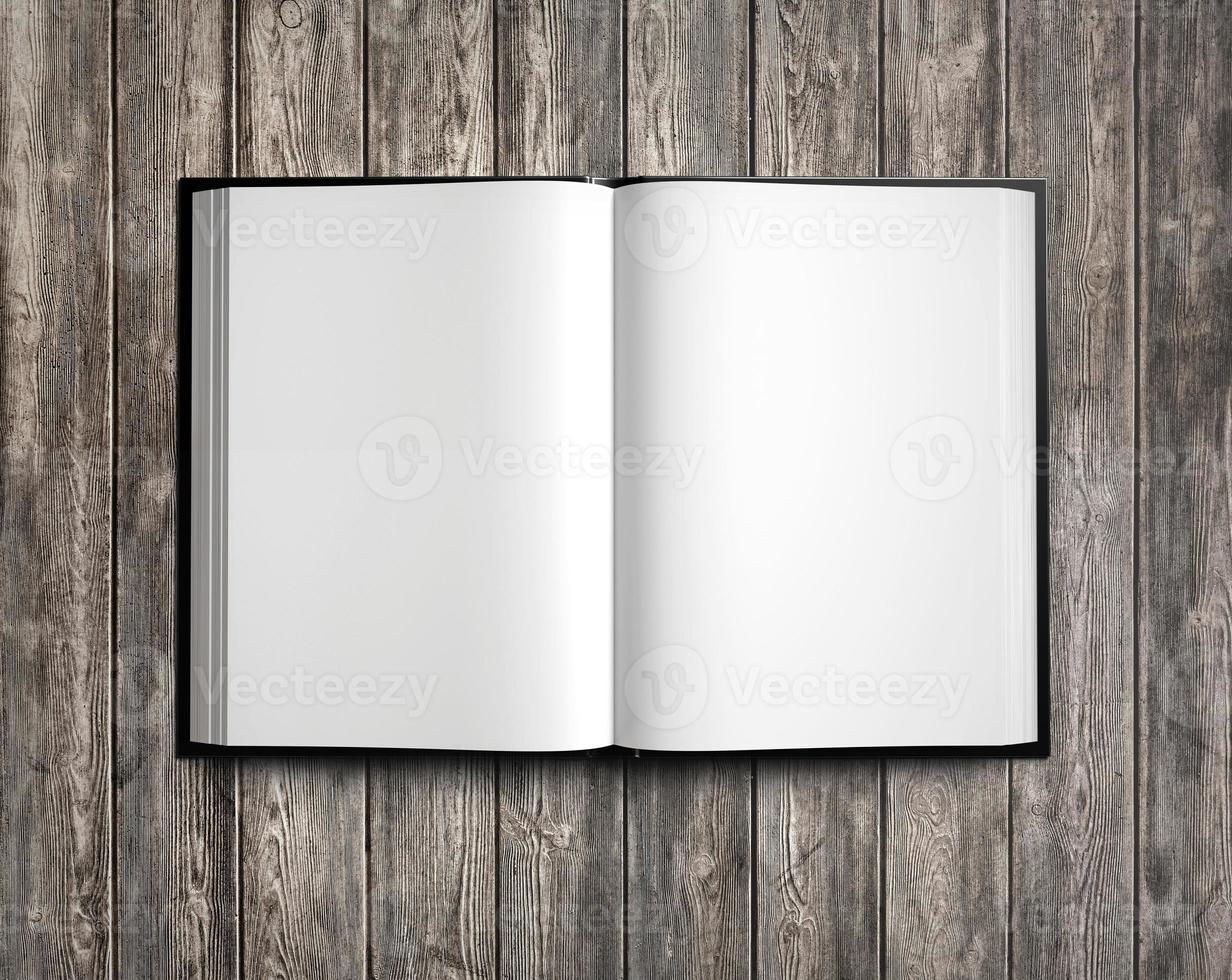 Abra o livro branco em madeira natural. 3d rendem foto