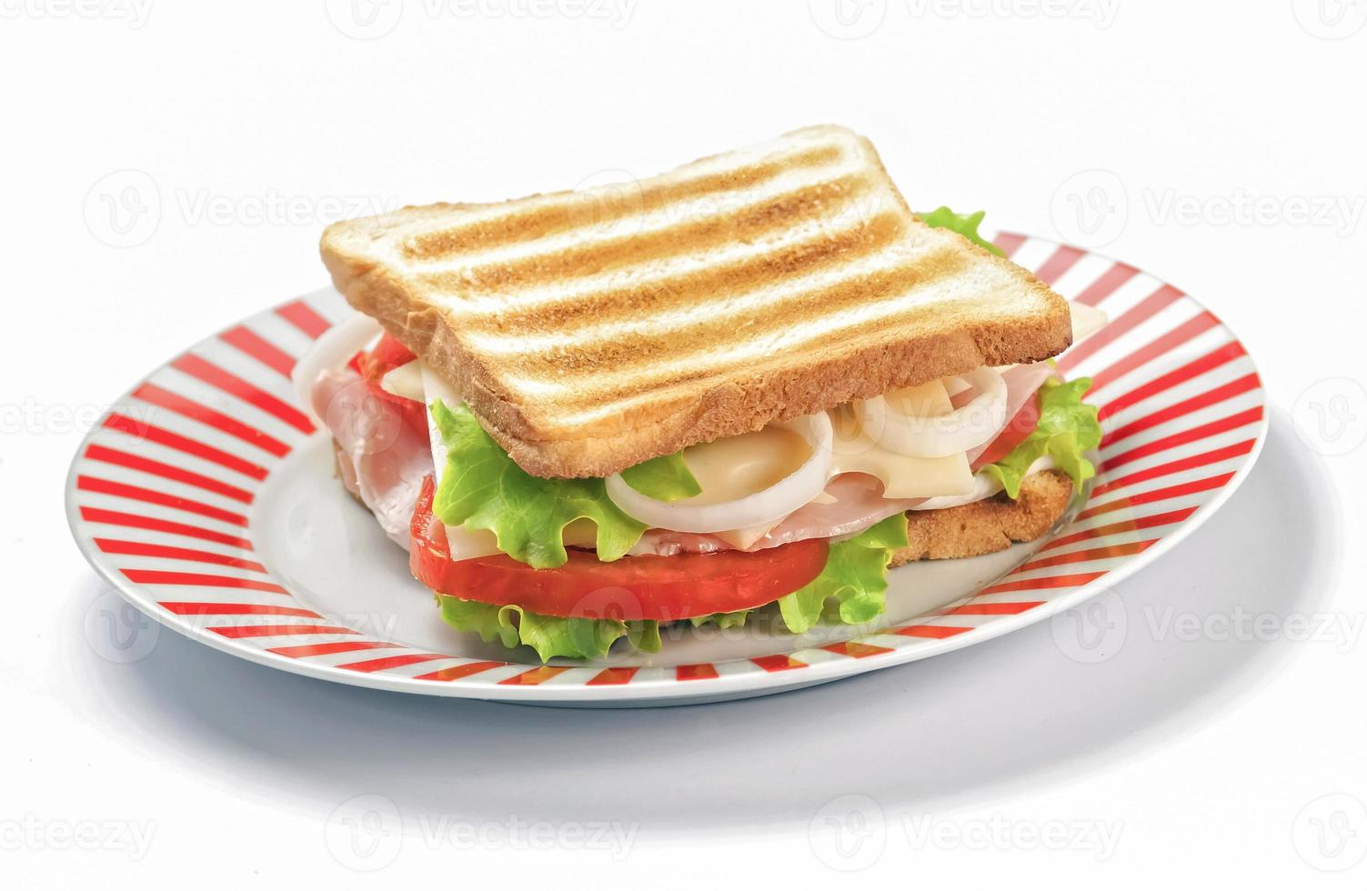 sanduíche grelhado no fundo branco foto