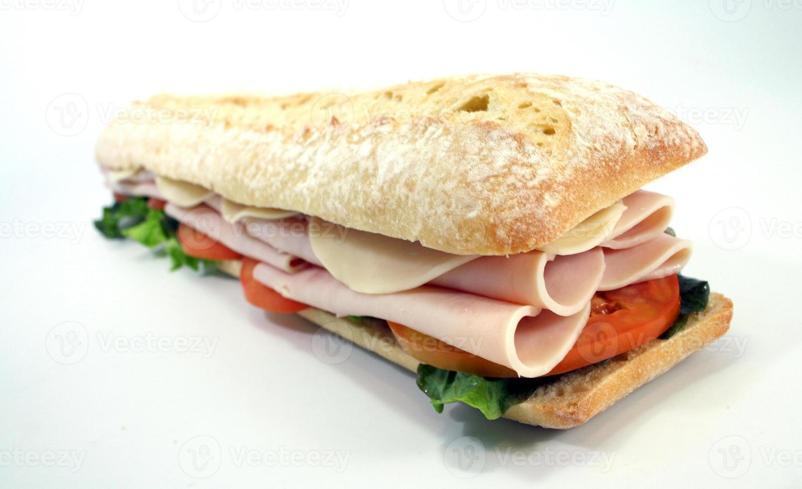 sanduíche hoagie com todos os acessórios foto