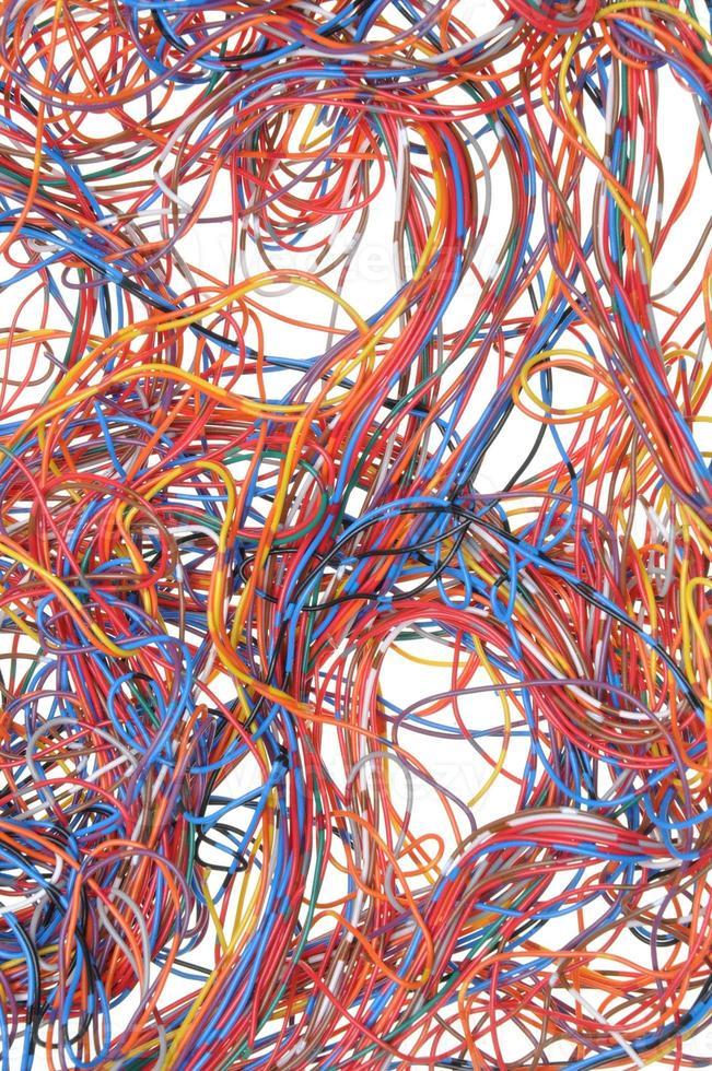 cabos e fios de telecomunicações coloridos foto
