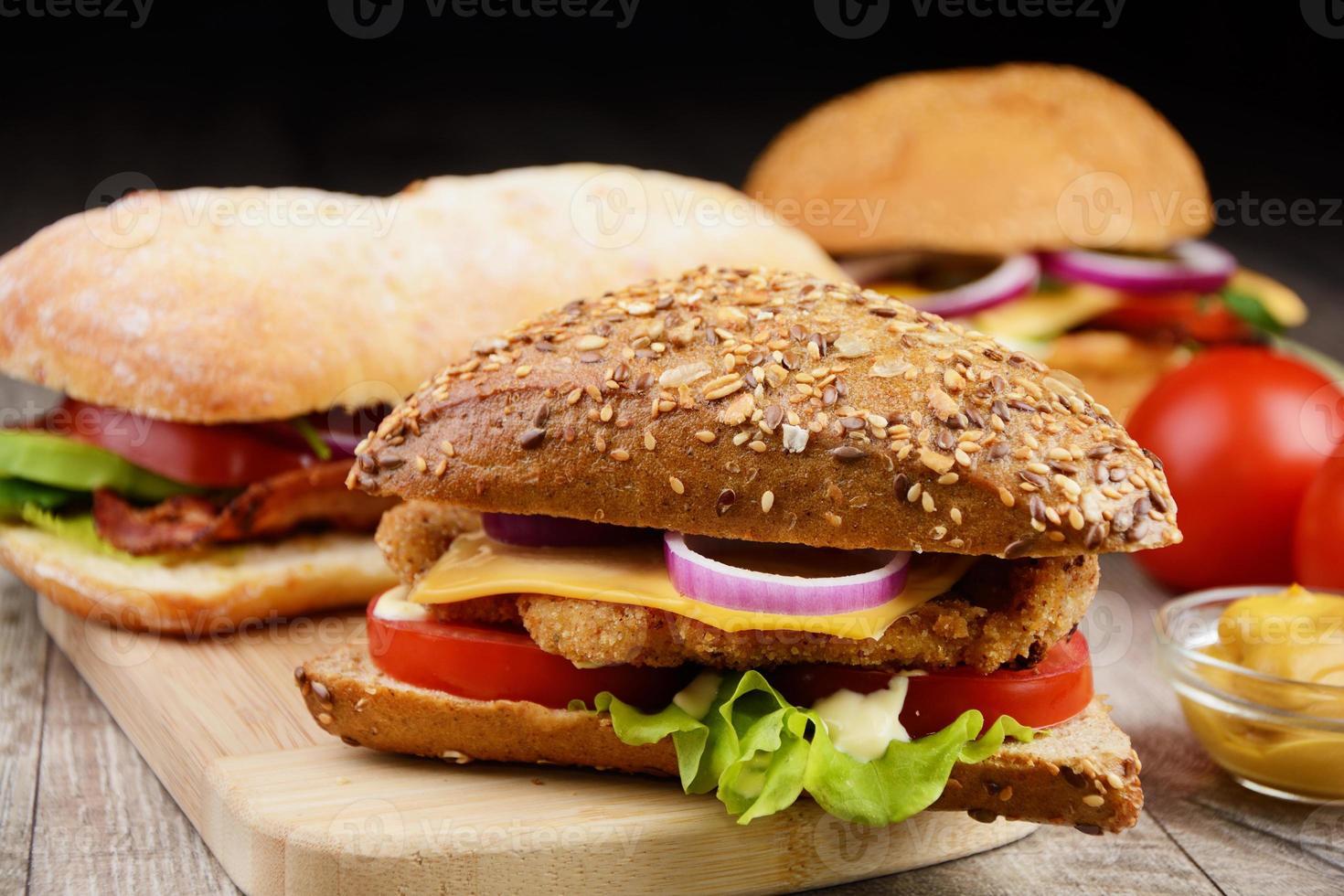 sanduíche saboroso caseiro foto