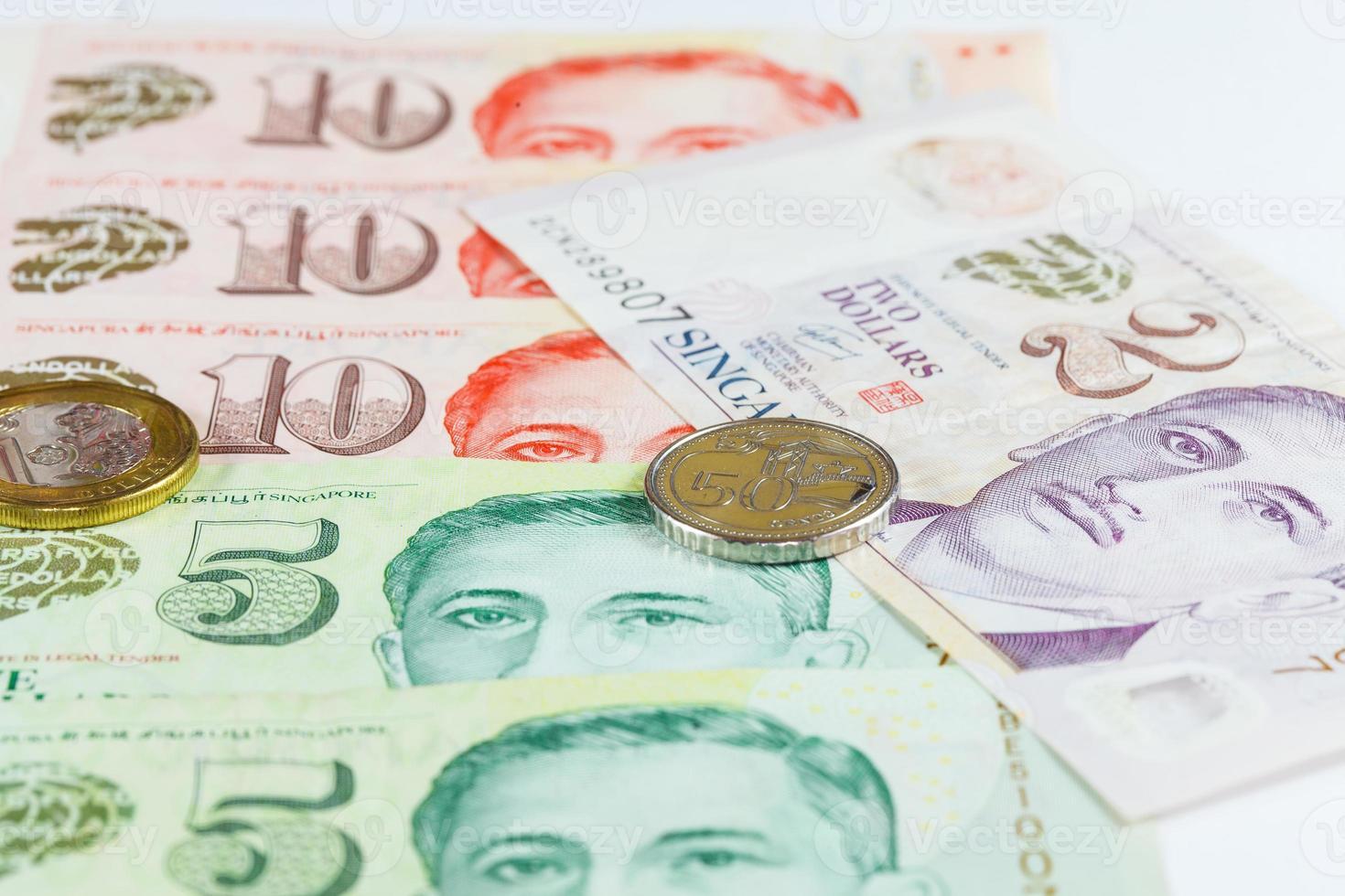 cingapura dólares nota e moedas foto