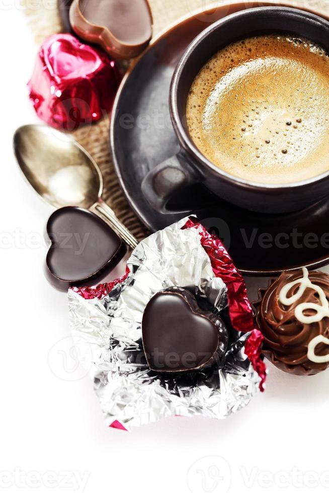 chocolate e café no dia dos namorados foto