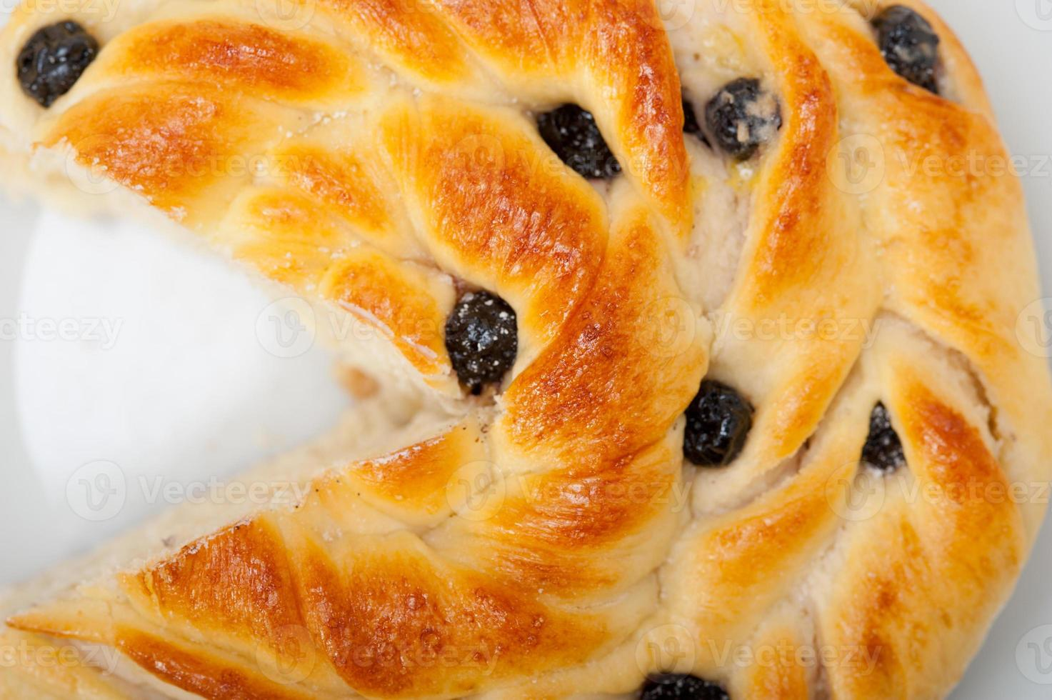 sobremesa de bolo de pão de mirtilo foto