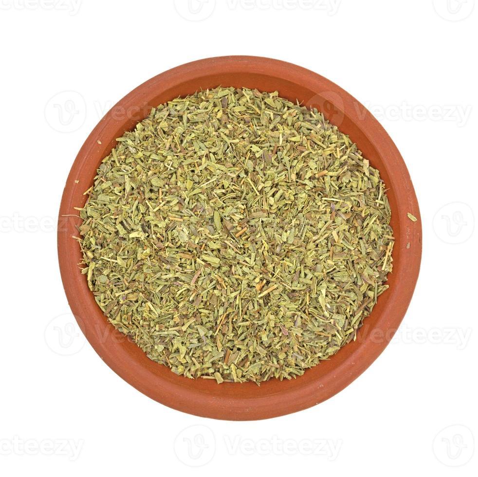 porção de erva salgada no prato foto