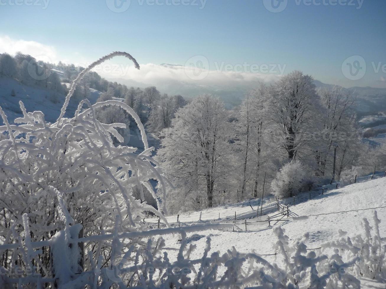 paisagem de montanha de neve foto