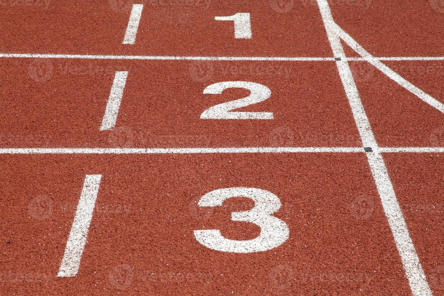 número 1 2 e 3 da pista de corrida foto