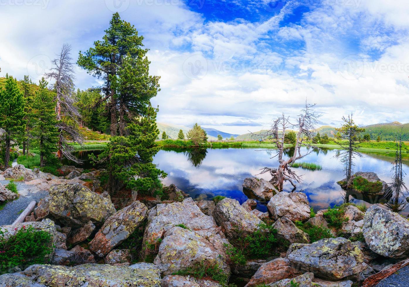 lago entre montanhas foto