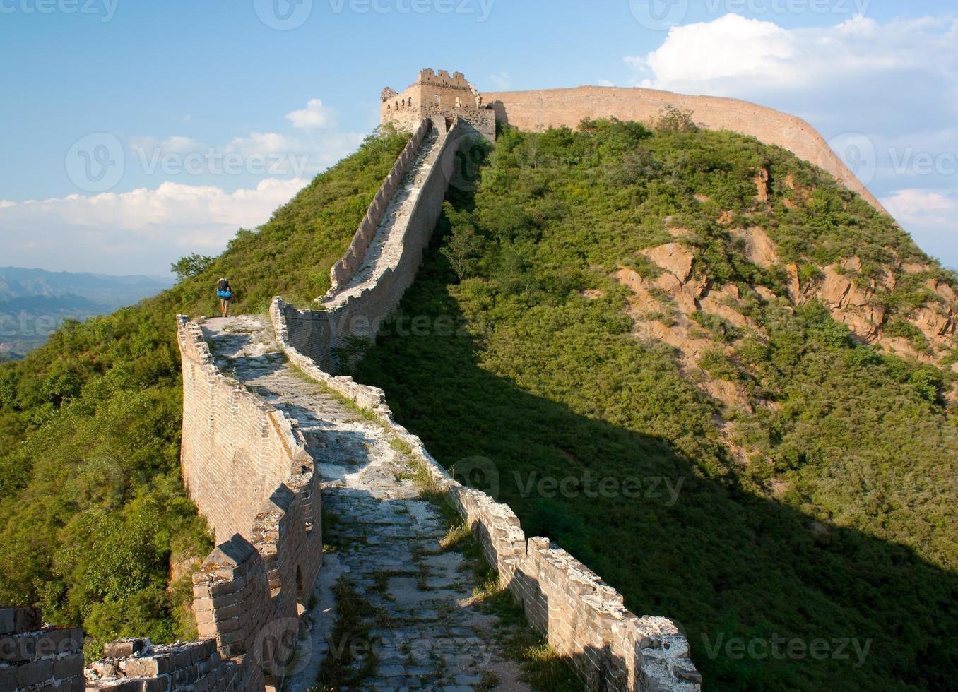 vista da grande muralha da china, localizada na província de hebei foto