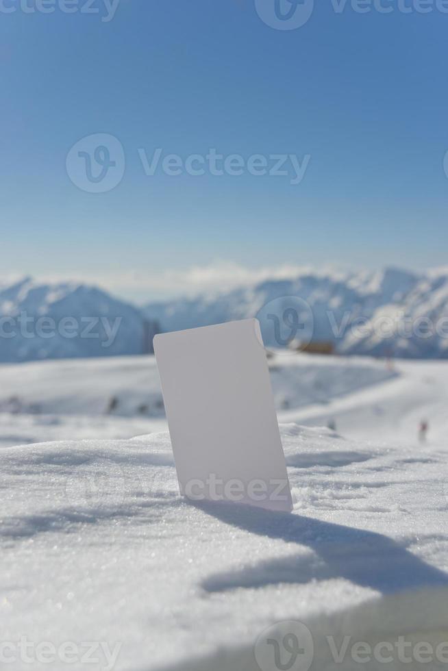 bilhete de elevador de cartão de visita de neve em branco foto