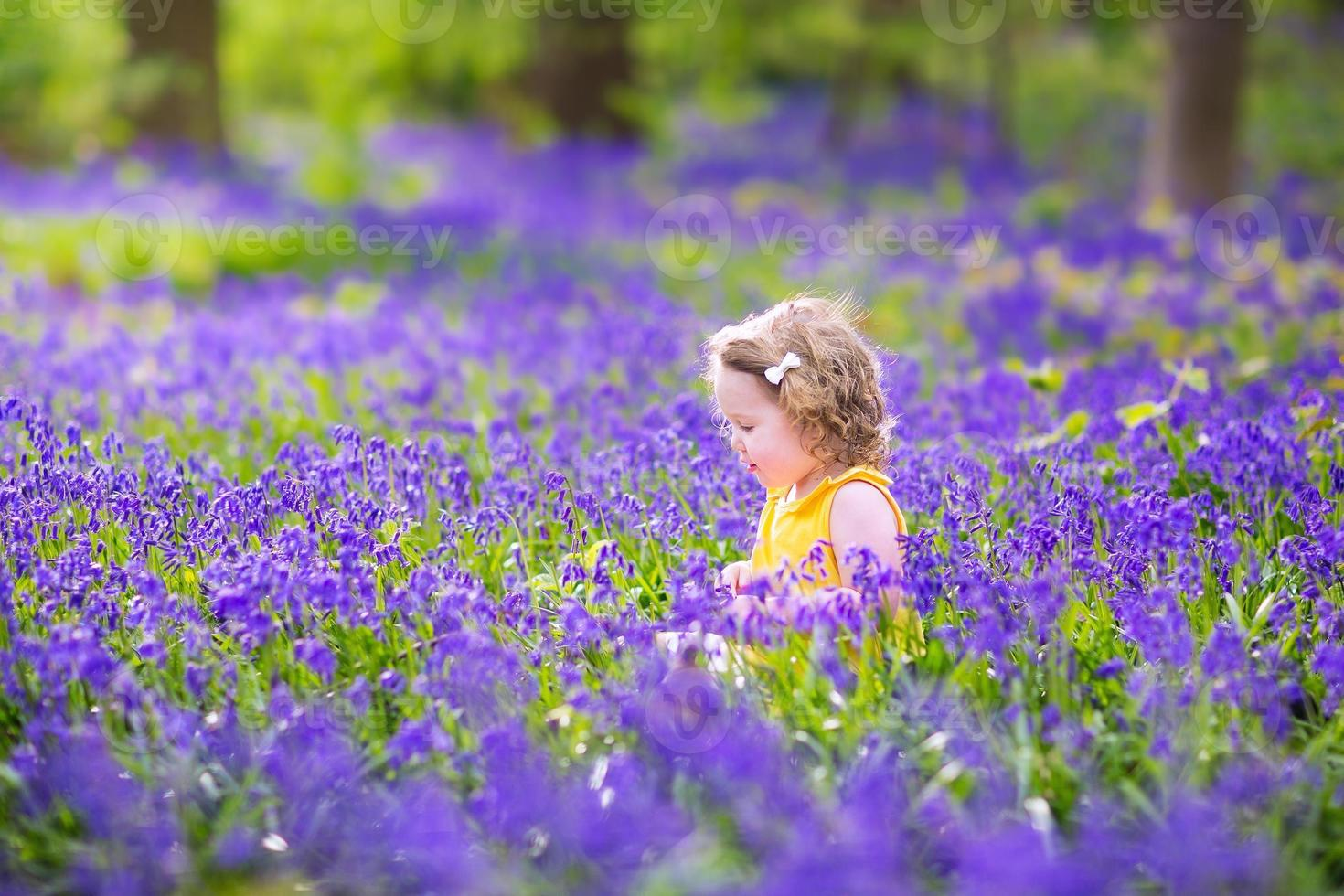 menina adorável criança em flores de bluebell na primavera foto