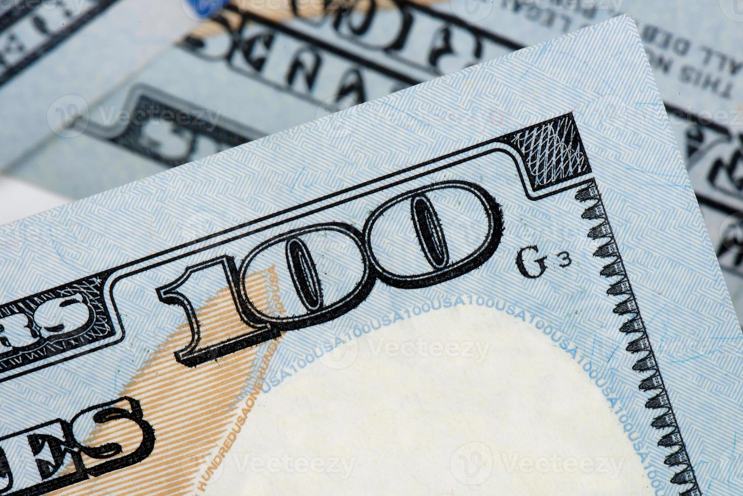 dinheiro americano, notas de cem dólares foto