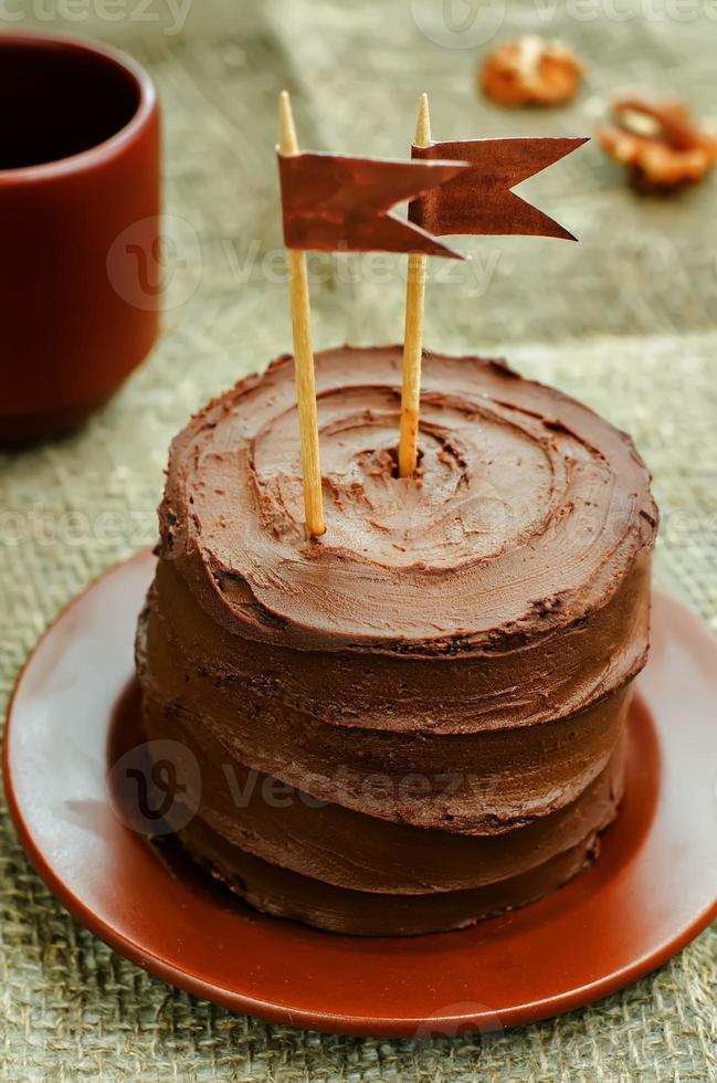 bolo de aniversário de chocolate foto