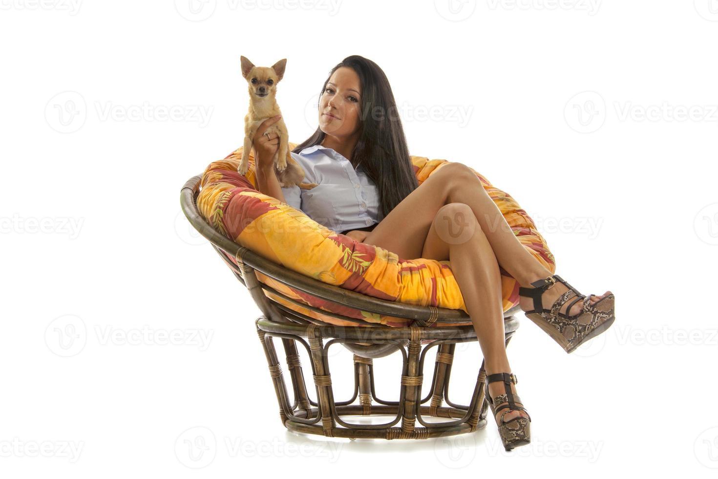 linda garota com cachorro chihuahua foto