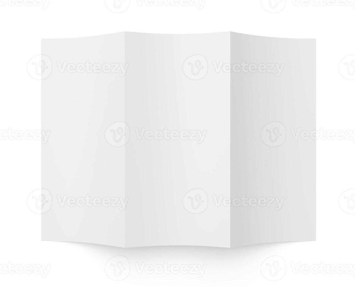 folheto folheto em branco papel branco em três partes foto