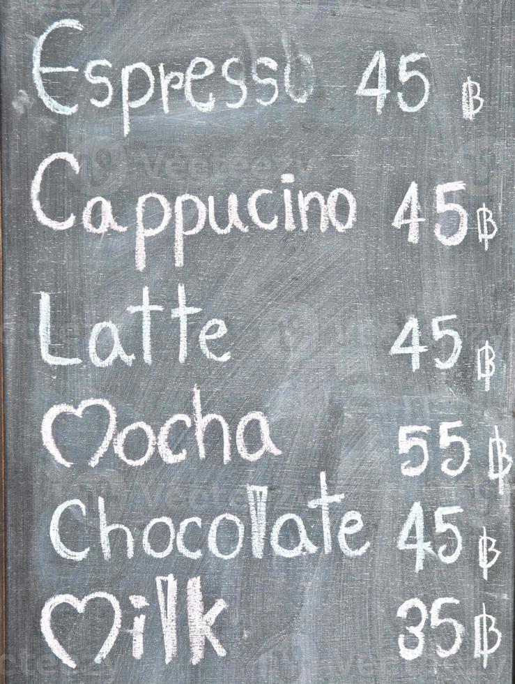 menu de café do quadro-negro foto