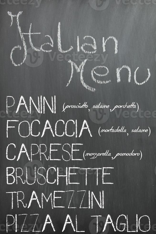 menu do bar italiano foto