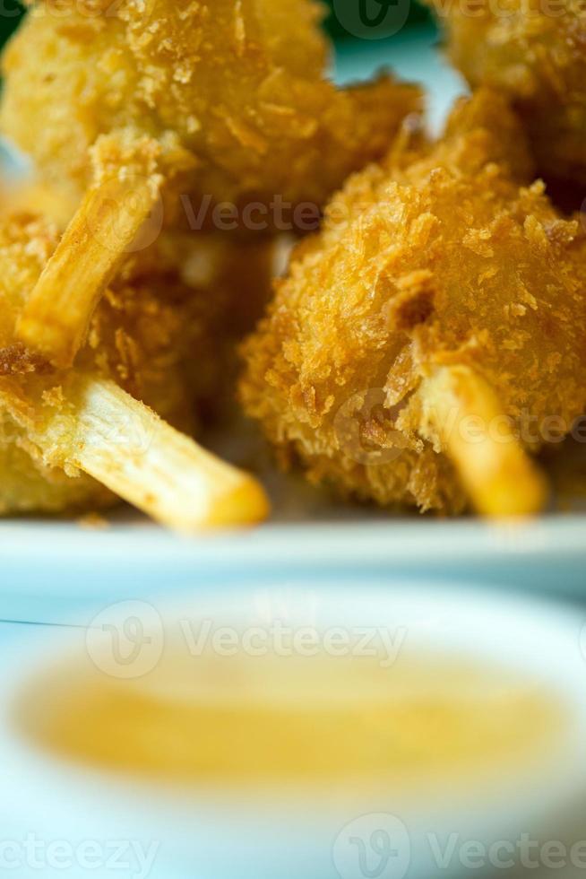 cana de açúcar no espeto camarão picado frito ou chao tom foto