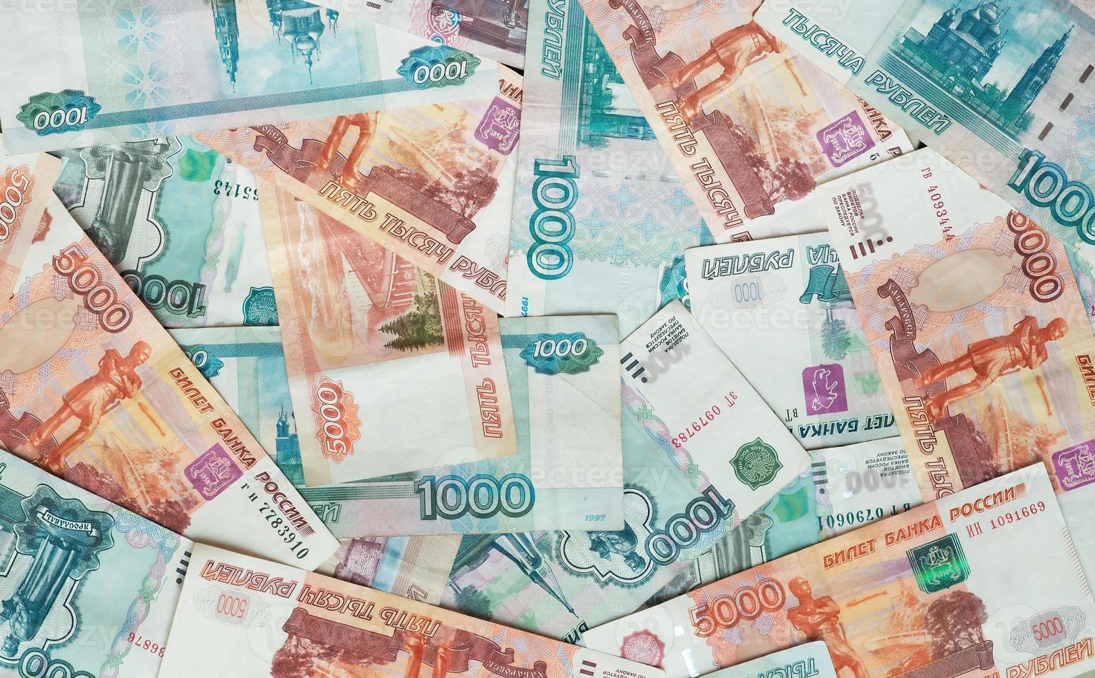 rublos. notas russas, dinheiro, plano de fundo foto