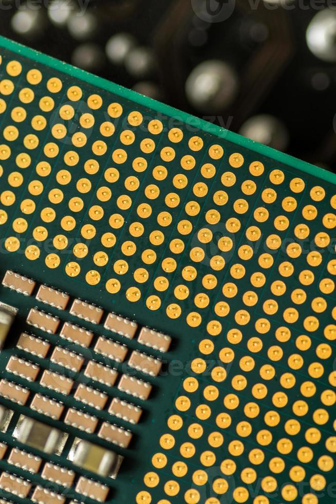 closeup macro de um chip de processamento da CPU do computador foto