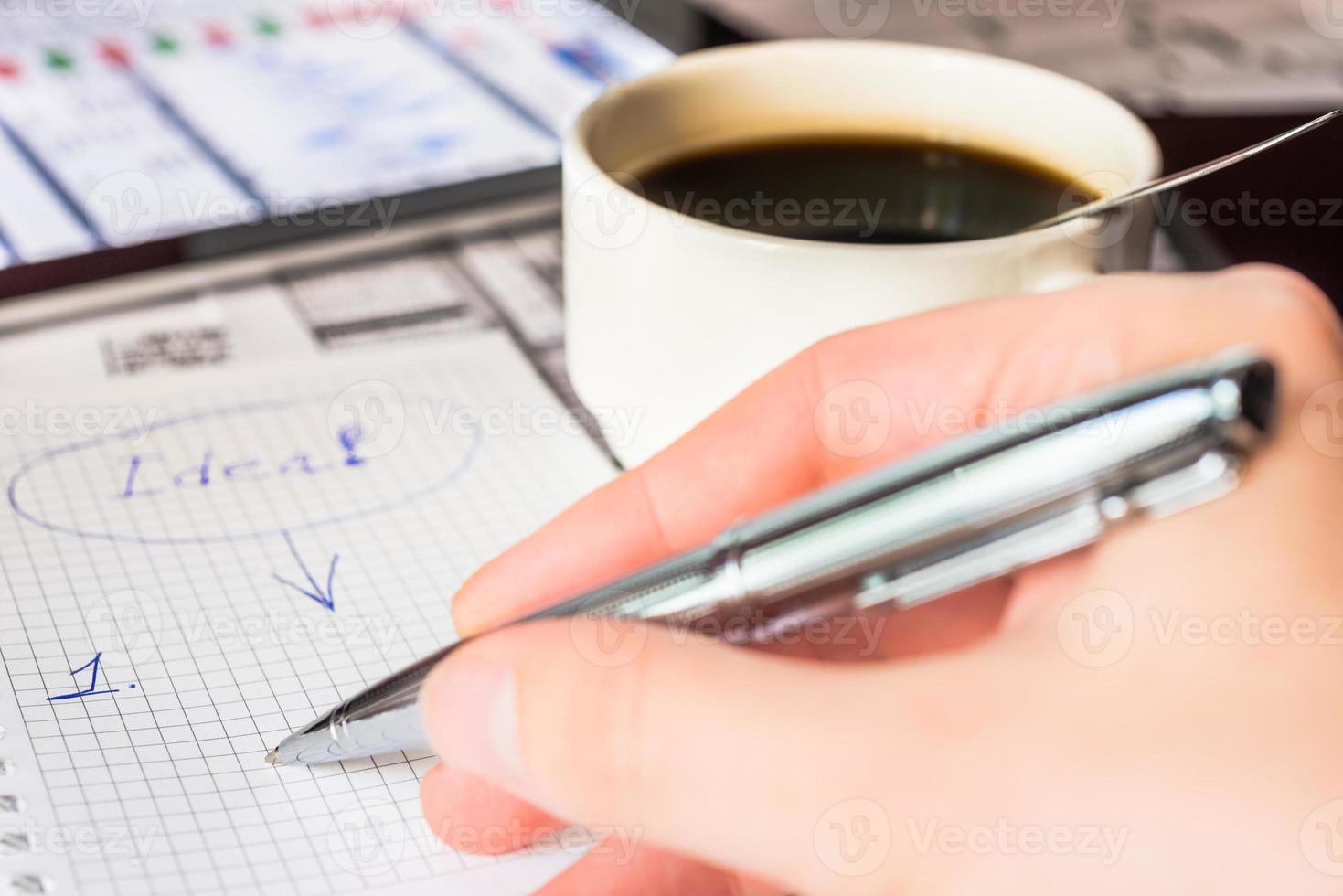 novas idéias no negócio, escrevendo todas elas foto