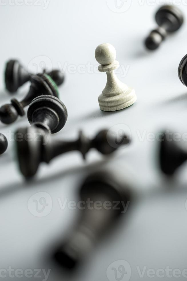 figura de xadrez, estratégia de conceito de negócio, liderança, equipe e sucesso foto