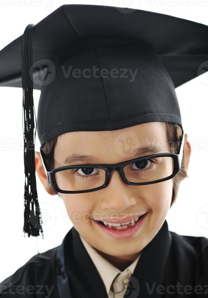 diploma de graduação criança estudante, escola primária de sucesso foto