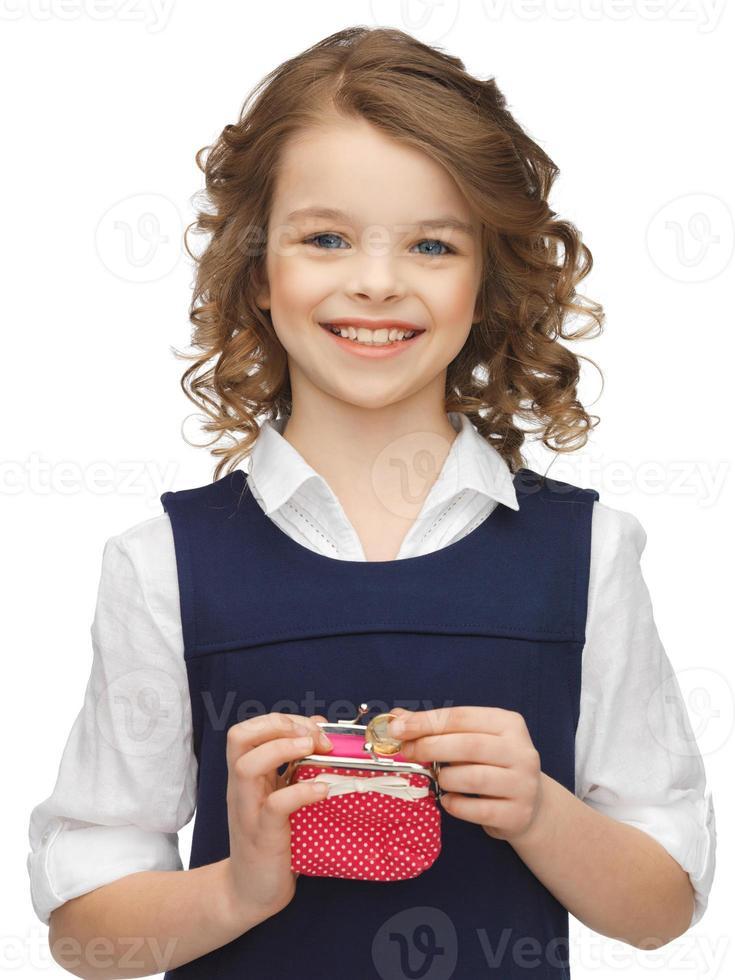 menina com bolsa de moedas foto