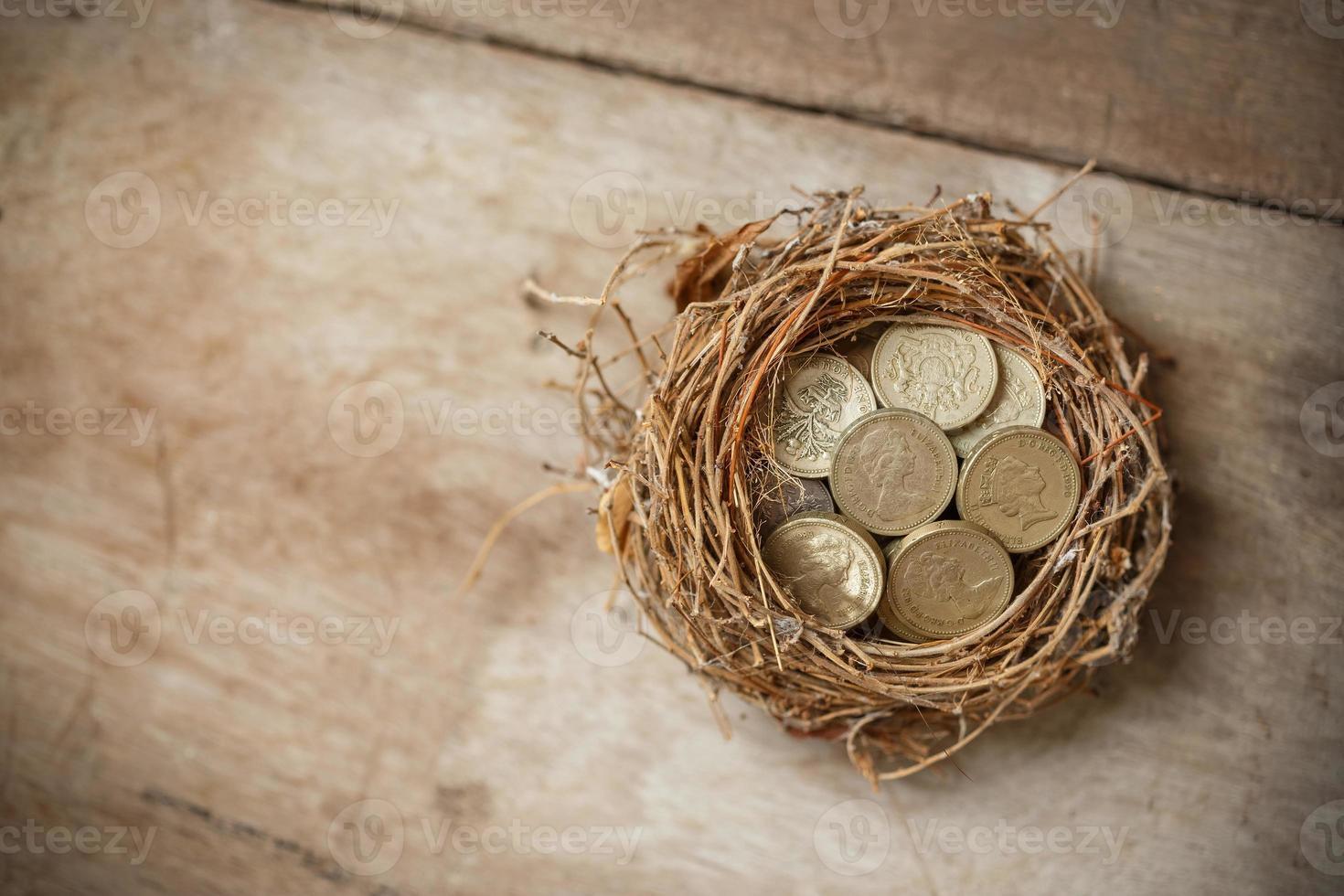 moedas de libra esterlina com ninho de pássaro e ovo quebrado foto