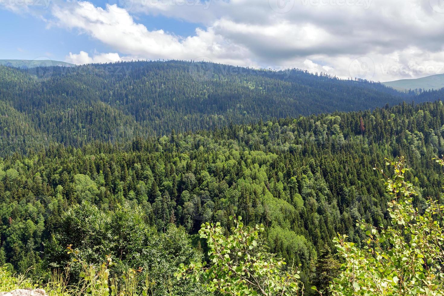 os topos das montanhas caucasianas no verão foto