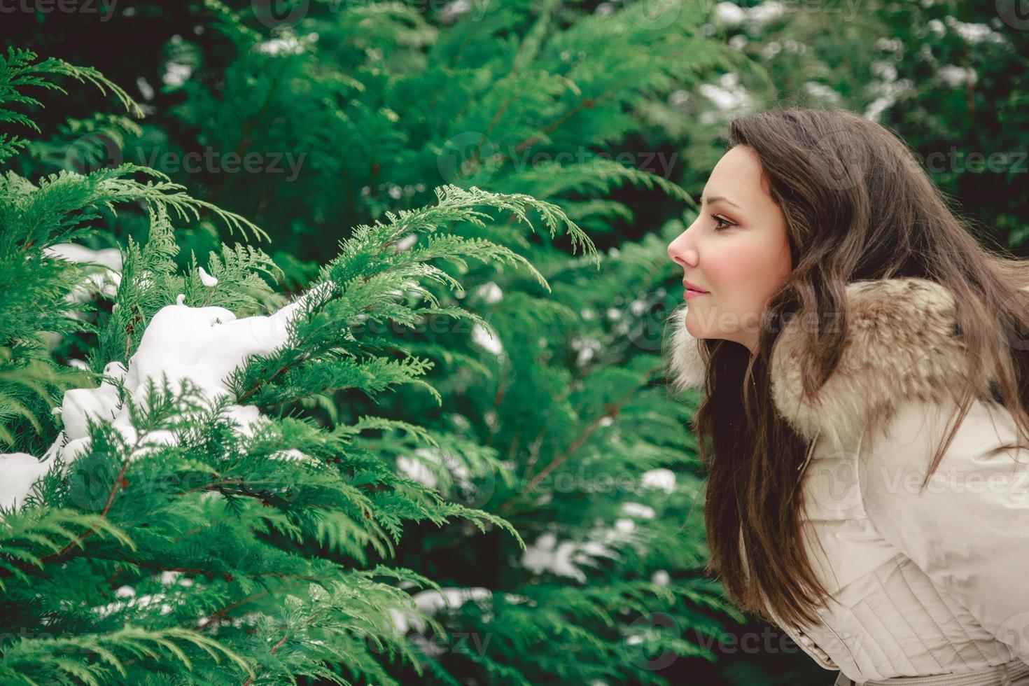 menina olhando para a árvore foto