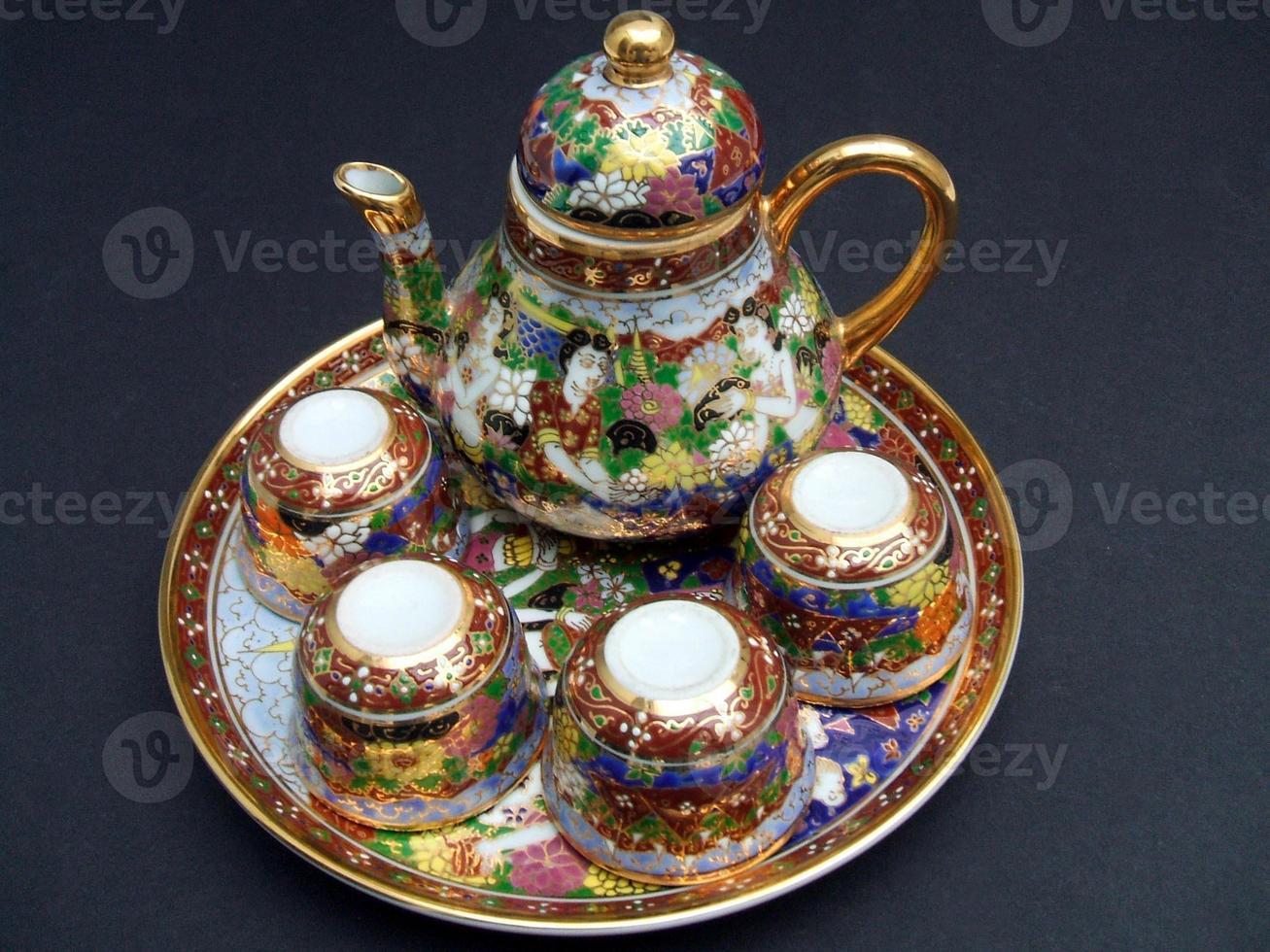 jogo de chá chinês tradicional vintage foto