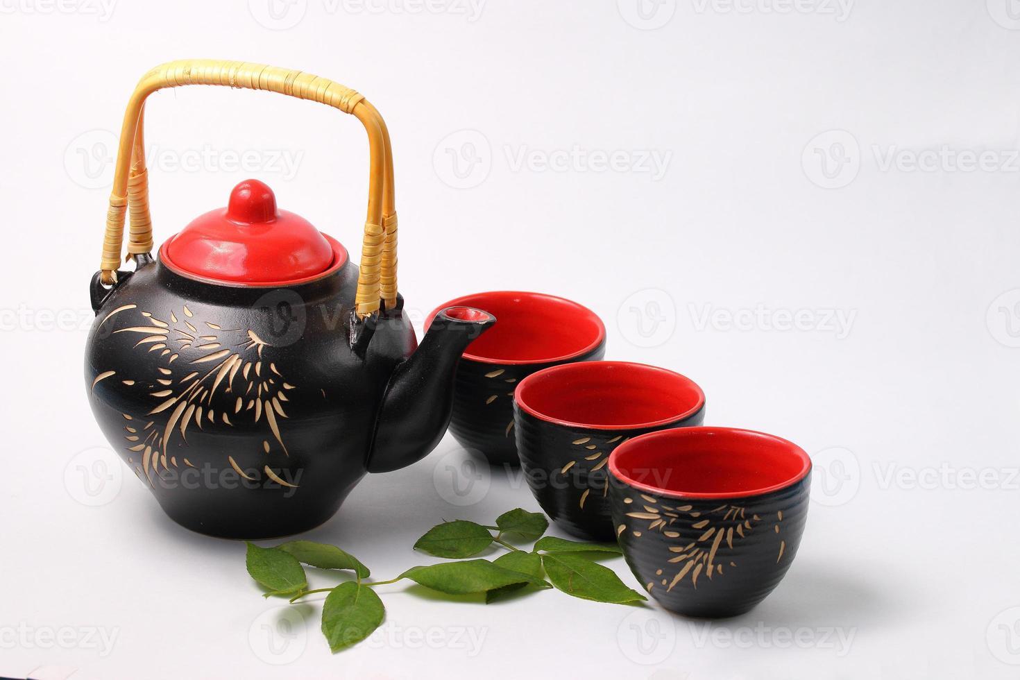 jogo de chá asiático foto