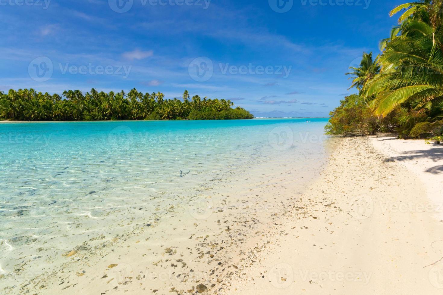 lagoa de aitutaki, ilha de um pé foto