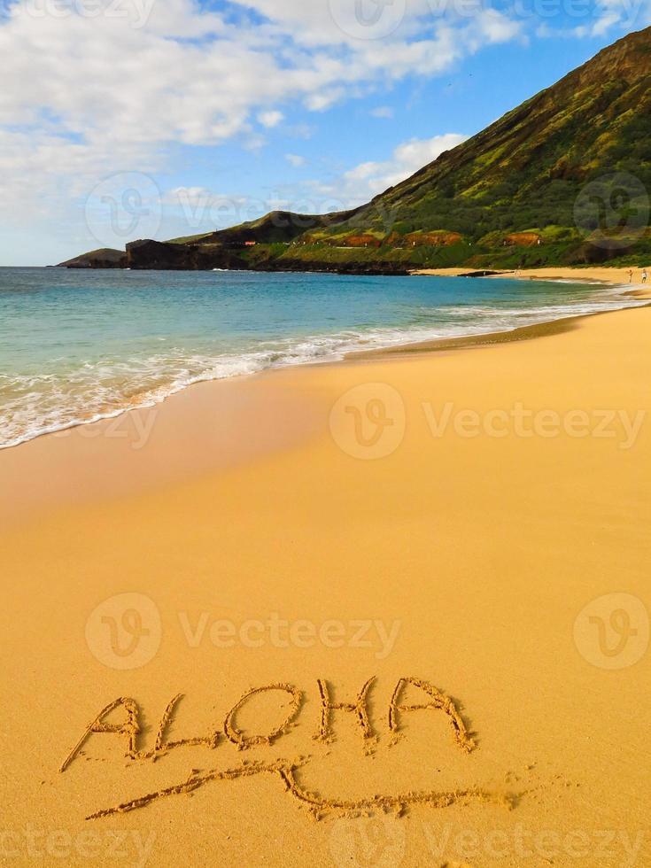 "mensagem ""aloha"" na areia na praia havaiana foto"